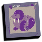 Walrus - A is For Animals - 41cm x41cm Canvas Baby Wall Art