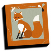 Fox - A is For Animals - 41cm x41cm Canvas Baby Wall Art