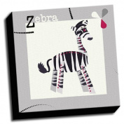 Zebra - A is For Animals - 41cm x41cm Canvas Baby Wall Art