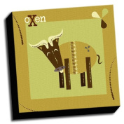 oXen - A is For Animals - 41cm x41cm Canvas Baby Wall Art
