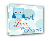 FRAMED CANVAS PRINT Owl love you forever nursery happy quotes