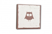 Homeworks Etc Owl Canvas Wall Art, Deep Brown/White