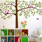 Rainbow Wall-stickers Wall Decor Removable Decal Sticker - Birds in Giant Green Tree