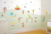 FunToSee Nursery Wall Decal Kit, Mr. Giggles Circus