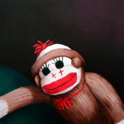 Oopsy daisy, Fine Art for Kids Sock Monkey Stretched Canvas Art by Margot Curran, 36cm by 36cm