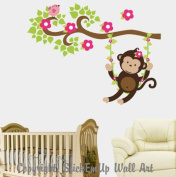 Baby Nursery Wall Decals Safari Jungle Childrens Themed 147cm X 117cm (Inches) Animals Trees Monkeys Wildlife Made of Seramark Material Repositional Removable Reusable