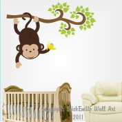 Baby Nursery Wall Decals Safari Jungle Childrens Themed 147cm X 69cm (Inches) Animals Trees Vines Monkeys Wildlife Made of Seramark Material Repositional Removable Reusable