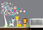 Swirly Tree with Jungle Animals Decal