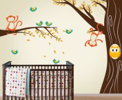 Monkey and Owl Tree Decal