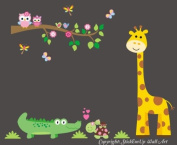 Baby Nursery Wall Decals Safari Jungle Children's Themed 152cm X 127cm (Inches) Animals Trees Alligators Owls Giraffes Wildlife Made of Seramark Material Repositional Removable Reusable Wall Fabric