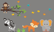 Baby Nursery Wall Decals Safari Jungle Children's Themed 102cm x 152cm (Inches) Animals Trees Monkey Zebras Elephants Wildlife Made of Seramark Material Repositional Removable Reusable Wall Fabric