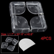 4 Pcs Clear Soft Plastic Desk Corner Pad Cover Protector Cushion