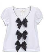 Laura Dare Toddler Girls Black Bow Top Shirt