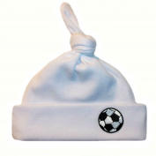 White Knotted Baby Hat with Soccer Ball