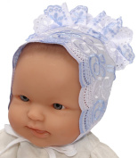 Newborn Embroidered Eyelet Bonnet, Colour