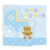 Teddy Baby Blue Invitations