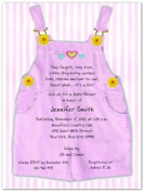 Pink Overalls Baby Shower Invitations - Set of 20