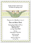3D 2 Peas In A Pod Girls Baby Shower Invitations - Set of 20