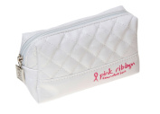 Danielle Pink Ribbon Foundation White Small Cosmetic Bag