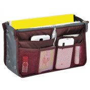 TRIXES Travel Cosmetics Pouch, Professional Bag Insert Organiser for MUA WineRed