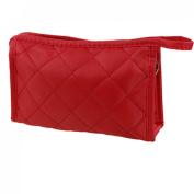 Women Zipper Closure Small Cosmetic Case Makeup Bag Red