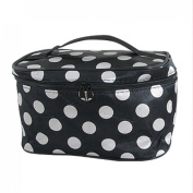 Woman White Polka Dots Black Cosmetic Makeup Hand Bag