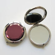 Jewel (PURPLE) Compact Double Mirror Comes With Box (Perfect For Your Handbags or Make-up Bag.