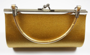 . Gold Satin Evening Clutch Bag (Make up Bag) With Metallic Effect Decoration and Handle, Length 18 x Height 10 cms