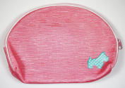 . Three Pink and Light Blue With Scotty Dog Decoration Patterned Make-Up Bags, Largest Bag 8 x 5.5 inches/ 20 x 14cm, Smallest Bag 4.25 x 3.5 inches/ 11 x 9cm, Easily Fit Inside One Another For Better Storage and ..