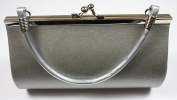 Silver Satin Evening Clutch Bag (Make up Bag) With Metallic Effect Decoration and Handle, Length 18 x Height 10 cms