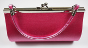 Bright Pink / Magenta Satin Evening Clutch Bag (Make up Bag) With Metallic Effect Decoration and Handle, Length 18 x Height 10 cms