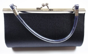 Dark Blue Satin Evening Clutch Bag (Make up Bag) With Metallic Effect Decoration and Handle, Length 18 x Height 10 cms