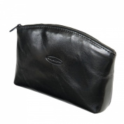 Maxwell Scott Luxury Black Leather Cosmetic Bag