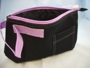 Black coloured canvas toiletries bag with Purple trim finish, BA0187 purple
