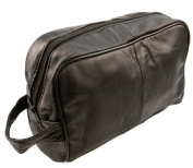 Large Leather wash bag with carry handle