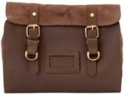 Ashwood Oiled Leather and Fabric Gents Hanging Washbag 7010 Brown
