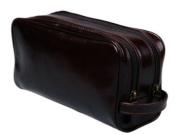 Sage Brown Genuine Leather Classic Wash Bag