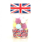 Union Jack Gift Bag - 20 x Random Scented Bath Marbles Fizzers Mini Bombs