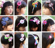 Bundle Monster 6pc Cute Handmade Grosgrain Ribbon Bows Girl Hair Headbands - Assorted Mix Lot Set