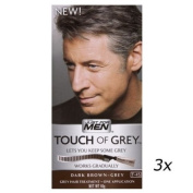 3 x Touch Of Grey Mens Hair Treatment Colour Multi Pack Dark Brown - Grey T45