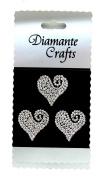 3 Clear Diamante Heart Swirls Vajazzle Rhinestone Gems