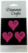 3 Hot Pink Diamante Heart Swirls Vajazzle Rhinestone Gems
