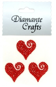 3 Red Diamante Heart Swirls Vajazzle Rhinestone Gems