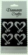 4 Clear Hearts with Swirls Diamante Vajazzle Rhinestone Gems Embellishments