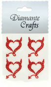 4 Red (tr) Devil Hearts Diamante Vajazzle Rhinestone Gems Embellishments