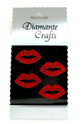 4 Red Diamante Lips Vajazzle Rhinestone Gems