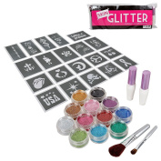 BMC Party Fun Temporary Fashionable Multi-Colour Glitter Shimmer Tattoo Body Art Design Kit with Stencils, Glue and Brushes