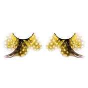 Long Yellow Spotted Feather Eyelashes