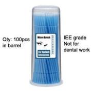Micro Brush Swab Applicators in Barrel Cases / 1 one barrels x 100 is 100 brushes total / Regular type Disposable Microbrush Microswab/ Eyelash Extensions / Individual Eyelash Extensions / Semi Permanent Eyelash Extensions / Fake Eyelashes ..