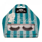 Miss Flicklash Long Party Style Black False Eyelashes & Silver Eyeliner Flick